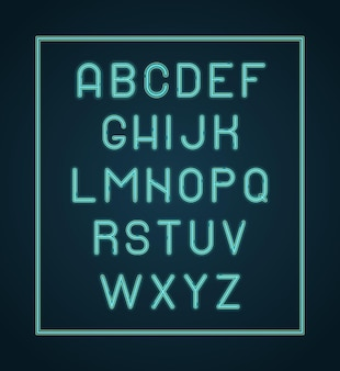Alfabeto de néon. letras de iluminação brilham letras de fonte.