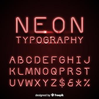 Alfabeto de néon na cor vermelha