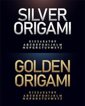 Alfabeto de origami e conceito de corte de papel japonês número
