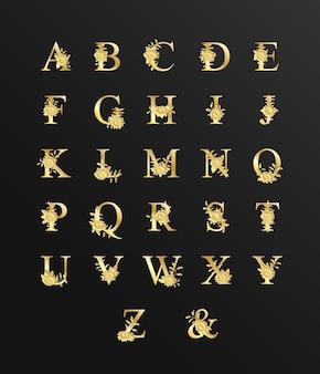 Alfabeto de ouro de luxo bonito para casamento com flores