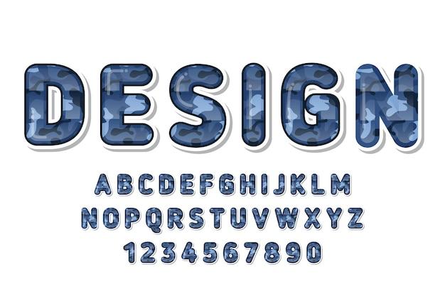 Alfabeto de padrão de camuflagem azul fofo