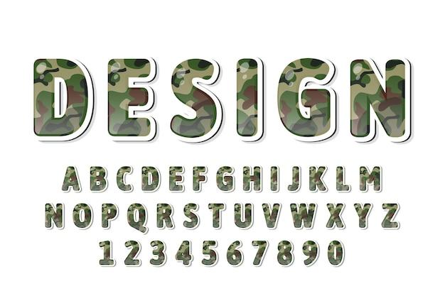 Alfabeto de padrão de camuflagem verde fofo
