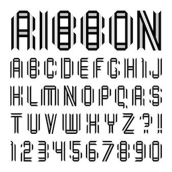 Alfabeto de papel dobrado com duas fitas pretas