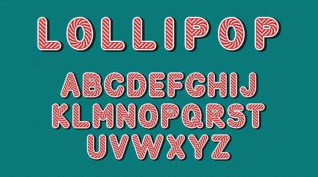 Alfabeto de pirulito doce bonito feito em vetor