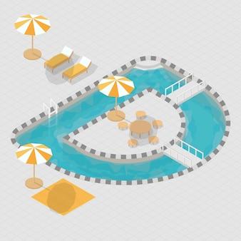 Alfabeto de piscina 3d isométrica d