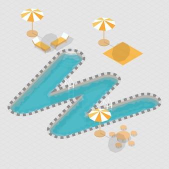 Alfabeto de piscina 3d isométrica w