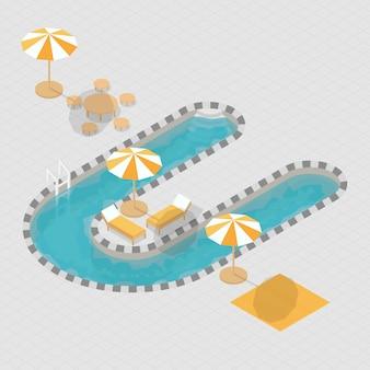 Alfabeto de piscina isométrica 3d u