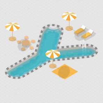 Alfabeto de piscina isométrica 3d y