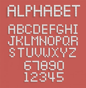 Alfabeto de pixel de números e letras