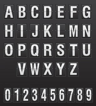 Alfabeto de placar, letras e dígitos ilustração vetorial