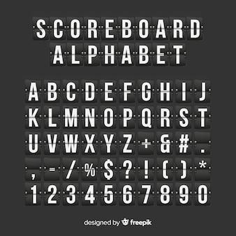 Alfabeto de placar realista