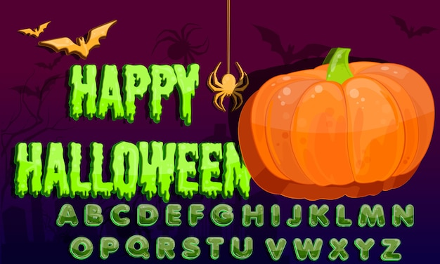 Alfabeto de respingo de halloween