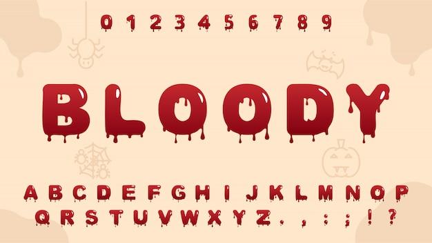Alfabeto de sangue vermelho