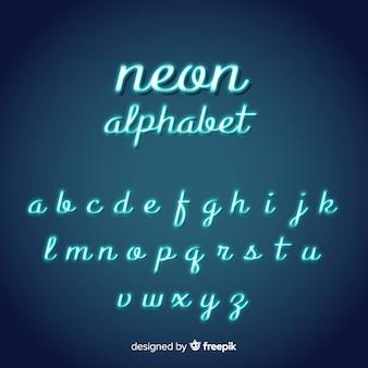 Alfabeto de script de néon