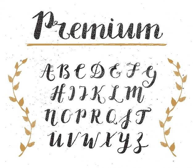 Alfabeto de script desenhado de mão de vetor