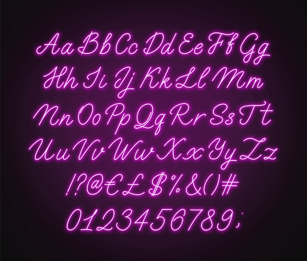 Alfabeto de script rosa neon. fonte cursiva brilhante com letras, números e caracteres especiais.