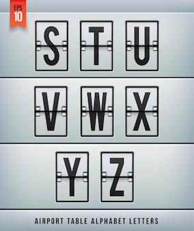 Alfabeto de tabela de chegada de aeroporto. ilustração.