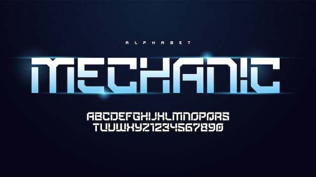Alfabeto de tecnologia moderna de vetor, conjunto de caracteres criativos