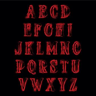 Alfabeto de terror abstrato. vetor