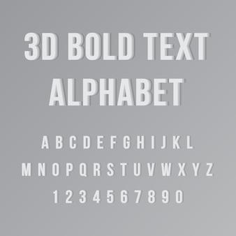 Alfabeto de texto em negrito 3d