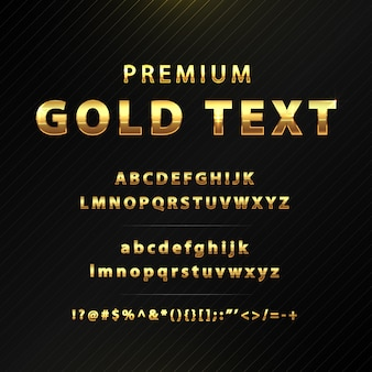 Alfabeto de texto premium ouro