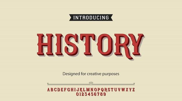 Alfabeto de tipo de letra de história