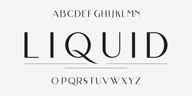 Alfabeto de tipo de letra sem serifa para criar títulos elegantes