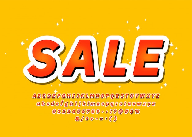 Alfabeto de tipografia 3d colorido na moda fonte venda sem serif estilo, promoção, cartaz de festa, banner de venda, oferta. vetor
