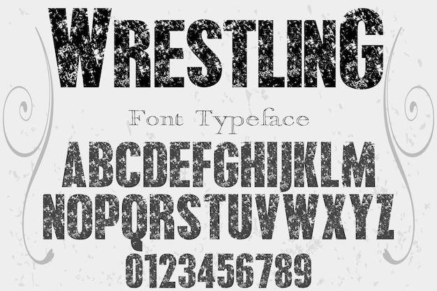 Alfabeto de tipografia de fonte velha grunge com números wrestling