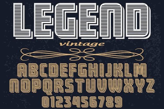 Alfabeto de tipografia de fonte vintage com números lenda
