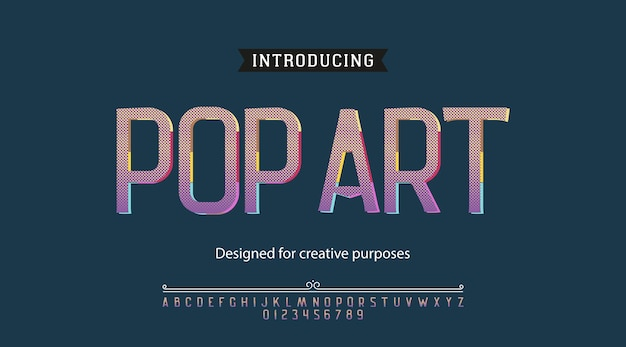 Alfabeto de tipografia fonte pop art fonte com letras e números