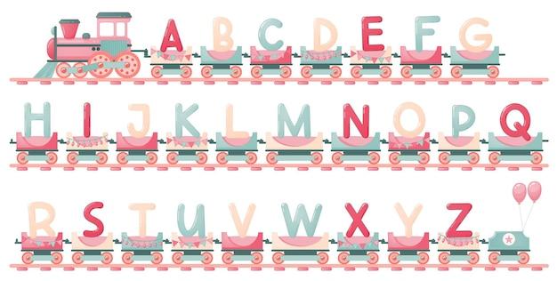 Alfabeto de trem para criança no estilo cartoon. somente letras maiúsculas. letras do abc do vetor para a educação das crianças na escola, pré-escola e jardim de infância.