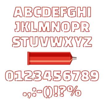 Alfabeto de tubo com ilustração vetorial de números