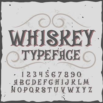 Alfabeto de uísque com letras e dígitos ornamentados em estilo vintage