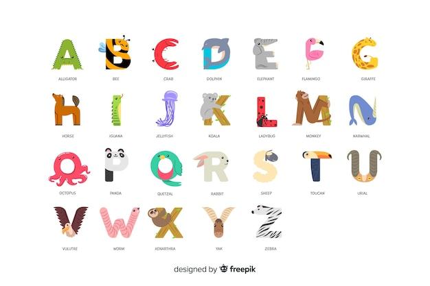 Alfabeto de zoológico com letras em ordem