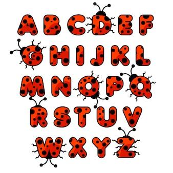 Alfabeto de zoológico de joaninha. animais abc inglês