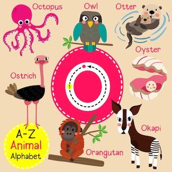Alfabeto de zoológico de letra o