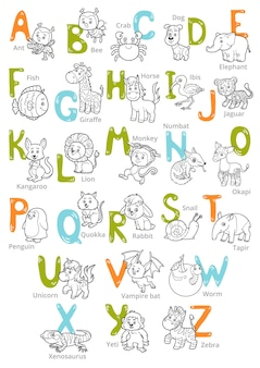 Alfabeto de zoológico de vetor preto e branco com animais fofos em fundo branco