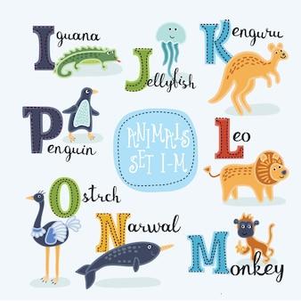 Alfabeto de zoológico fofo