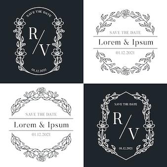 Alfabeto decorativo com logotipo de casamento luxuoso