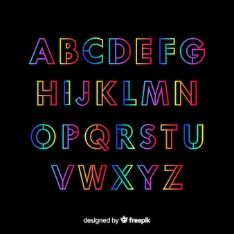 Alfabeto decorativo gradiente template