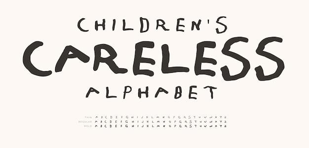 Alfabeto descuidado infantil desenhado à mão letras do doodle marcador linha fonte infância divertida letra definida para