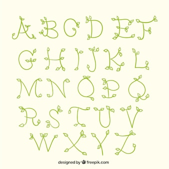 Alfabeto desenhado com ramos e folhas