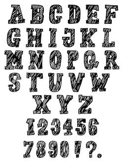 Alfabeto desenhado de mão. fonte e número de letras
