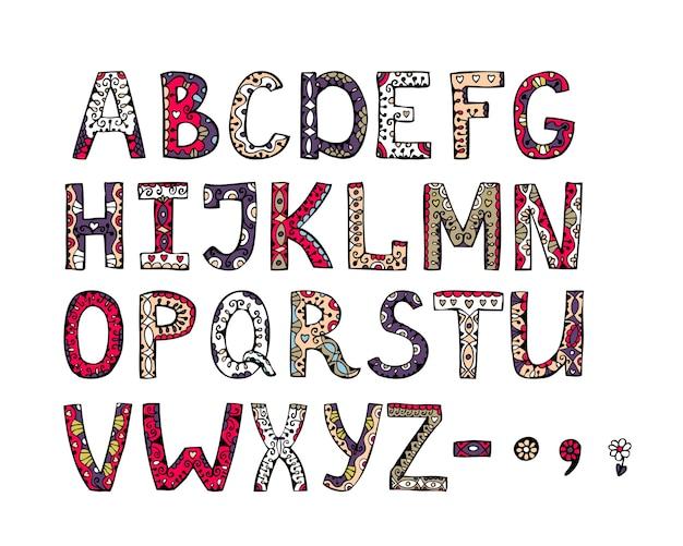 Alfabeto desenhado de mão ornamental de vetor decorativo de sonho