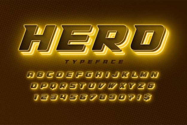 Alfabeto dinâmico futurista, conjunto extra brilhante de caracteres criativos.