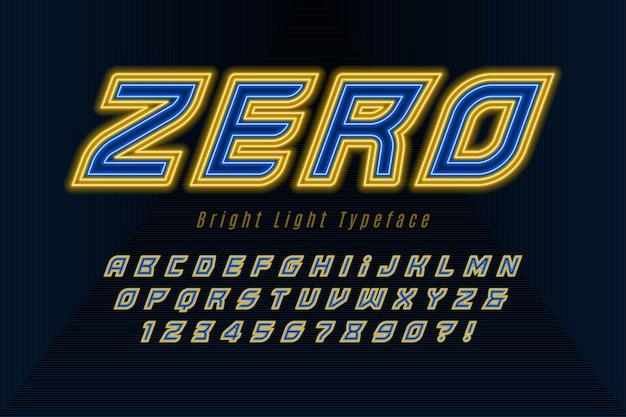 Alfabeto dinâmico futurista, fonte extra brilhante.