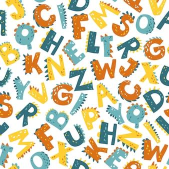 Alfabeto dino. padrão sem emenda de vetor abc em estilo cartoon simples.