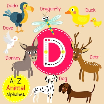 Alfabeto do jardim zoológico da letra d