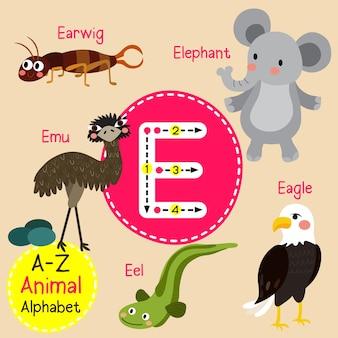 Alfabeto do jardim zoológico da letra e